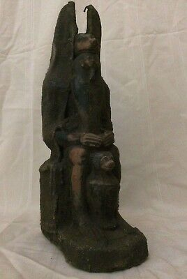 ANCIENT EGYPTIAN ANTIQUES ANUBIS Egypt God Deity Dog a Sit Statue Stone 3150 BC