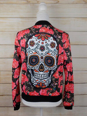 Womens Mexican Rose Sugar Skull Medium Sweater Jacket Sweatshirt Dia de Muertos