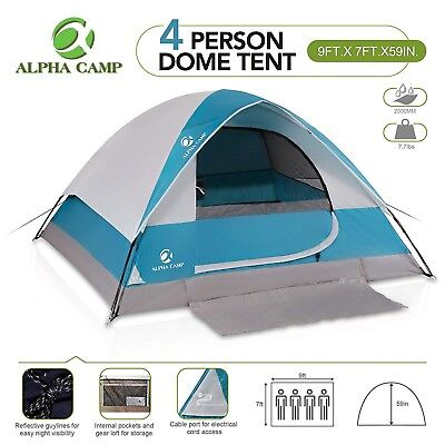 Alpha Camp 4 Person Camping Tent With Mud Mat Dome Design 9 X 7