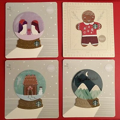 """Brand New Starbucks  Gift Card 2018  """"Christmas Holiday""""  Set Of 4 No Cash Value"""