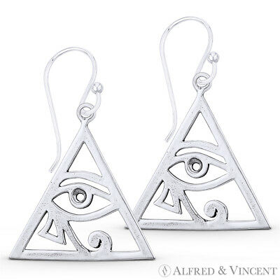 Eye of Horus Egyptian Udjat Wedjat Dangling Hook Earrings in 925 Sterling Silver