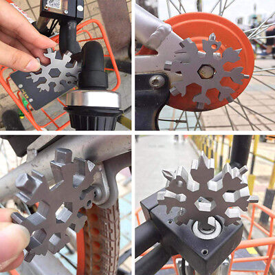 Stainless Steel 18-in-1 Multi-tool Card Portable Outdoor Snowflake Tool Card US