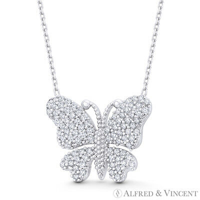 Butterfly CZ Crystal Animal Insect Charm Necklace Pendant in 925 Sterling Silver