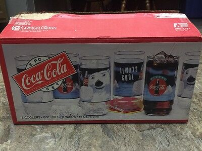 Coca-Cola 8 Piece Coolers Glass Tumblers 16 oz Indiana Glass 1995 Made in USA