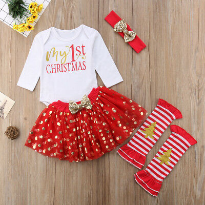 Christmas Tutu Outfits.Newborn Baby Girls Christmas Clothes My 1st Christmas Romper Tutu Outfits Set