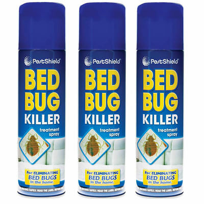 3 x Bed Bug Killer Spray Insect Carpet Mattress Treatment Eliminate Bugs 200ml