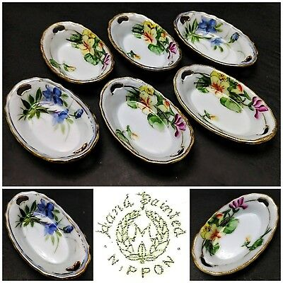 6 Pcs Antique Nippon Handpainted Floral Dipping Dish with Gold Trim