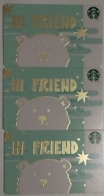 "Lot 3 Starbucks ""HI FRIEND"" CHRISTMAS 2018 Recycled Paper gift card set NEW"
