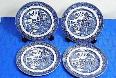"""LOT of 4 Johnson Bros.BLUE WILLOW  6 1/8"""" Bread + Butter Plates  MINT!"""