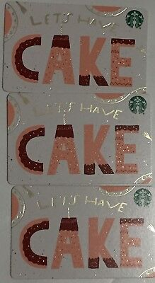 "Lot 3 Starbucks ""LETS HAVE CAKE"" CHRISTMAS 2018 Recycled Paper gift card set NEW"