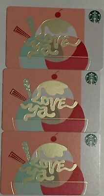 "Lot 3 Starbucks ""LOVE YA"" CHRISTMAS 2018 Recycled Paper gift card set NEW"