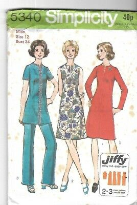 Vintage 1970s Jiffy Reversible Dress Fabric Collection Sewing Pattern 1356