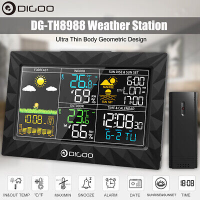 DIGOO Colorful Weather Station Thermometer +Indoor Outdoor Sensor Sunrise Sunset
