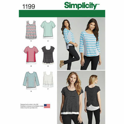 Simplicity Sewing Pattern 1199 Womens Misses 4-26 Easy Knit Tops Shirts Singlet