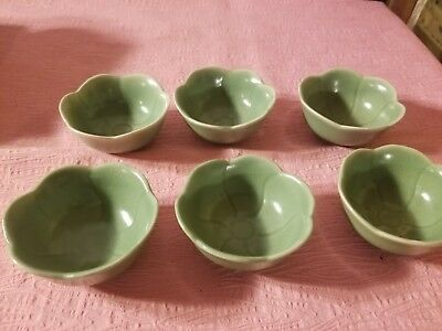 """6 Oriental Green Cabbage Look Small Cups 1.5"""" tall 3"""" Round"""
