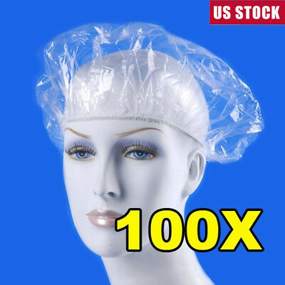 100pcs/pack Disposable Hat Hotel One-Off Elastic Shower Bathing Cap Clear USA