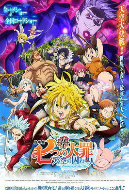 """The Seven Deadly Sins Movie Poster 36x24"""" 21x14"""" Prisoners of the Sky 2018 Silk"""