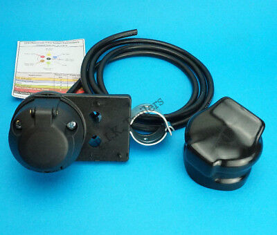 Pre-wired 7 Pin 12N Socket & Cover on SWAN NECK Bracket for Trailer Towing