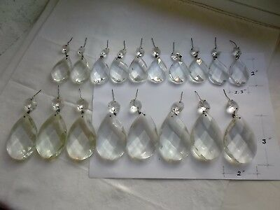 French antique /vintage  18 crystals  2 size, gorgeous chandelier part