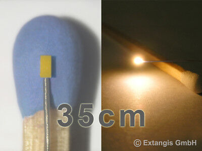 10x SMD LED 0402 GOLDEN WHITE WEISS +Microlitze 35 cm XL long micro litz wire
