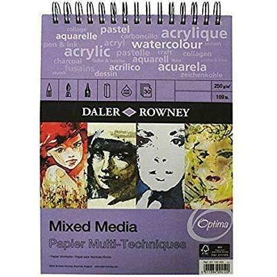 Daler Rowney Mixed Media Spiral Sketchpad 250gsm 30 Pages A3 Portrait