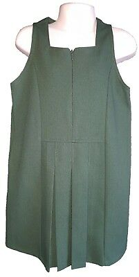 Girls Ex M&S Green Zip Up School Uniform Pinafore With Side Pockets  Age 4,5,6,7