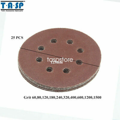 TASP 25PC 125mm Abrasive Sand Paper Sanding Disc 8 hole Hook with Grits 60~1500
