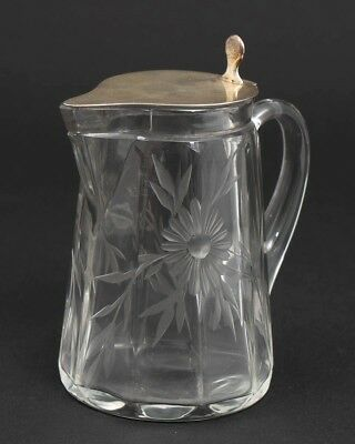 Sheffield c1914 Glass Creamer Syrup Pitcher with Sterling Silver Hinged Lid 9332