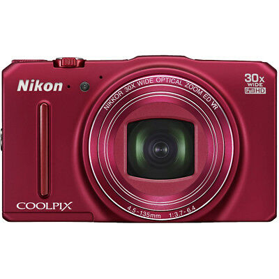 Nikon COOLPIX S9700 16MP HD 1080p 30x Opt Zoom Digital Camera - Red - REFURBISHE