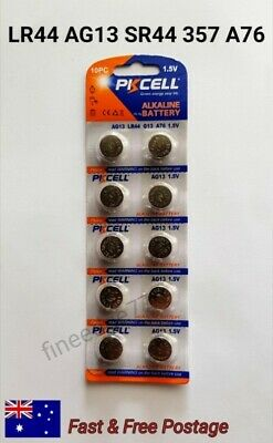 10 x AG13 LR44 L1154  A76 303 357 Alkaline Button Batteries 1.5V PKCELL