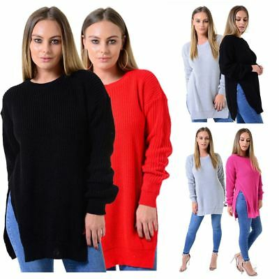 Ladies Double Slit Round Neck Long Sleeve Womens Fishernet Warm Knitted Jumper