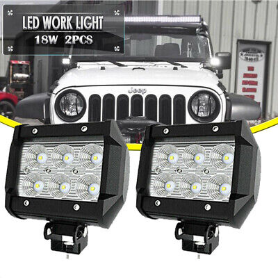 Pair 18W 4inch Spot LIGHT BAR LED Backup Bumper Lights for Ford Heavy-Duty Boat