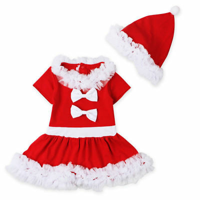 Baby Girls Christmas Xmas Top Dress & Hat Set Outfit Costume Gift Set