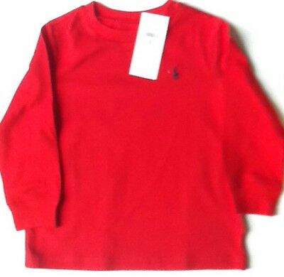 Bnwt Girls/ Boys Ralph Lauren T Shirt Red   Age 24 Months Long Sleeve