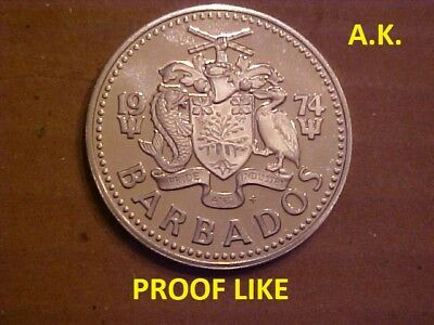 Barbados 1974FM 2 DOLLARS  with Ocean Fish & Coat of Arms