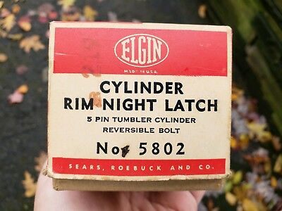 "Vintage ELGIN Rim Night Latch 2 3/8"" Key Lock & Keys Exterior Knob Turn Interior"