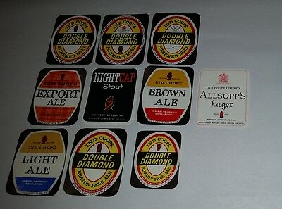10 old Ind Coope beer different bottle labels Ale Lager Pilsener & Stout types