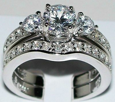 2ct Sterling Silver Round cut Engagement Ring Wedding Set size 4 5 6 7 8 9 10 11