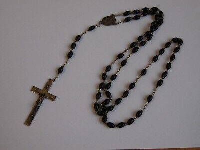 Old Vintage antique small  wooden bead Silver Tone Catholic Rosary Necklace