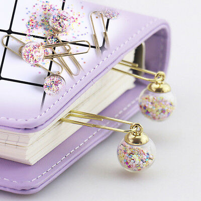 1Pc glass ball paper clips notes diy bookmark metal letter binder clips ZJHN