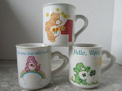 3 Old Vintage 1980's Care Bears Pottery Coffee Mugs American Greetings