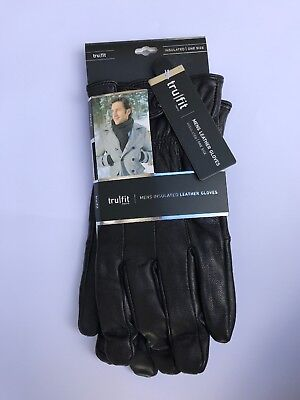 New Mens Insulated Leather Gloves One Size TruFit W/Snap Closure Fleece Lined