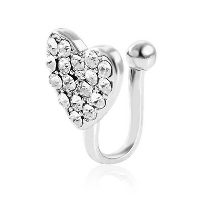 1PC Stainless Steel Nose Ring Heart Shaped Stud Hoop Crystal Ball Body Jewelry