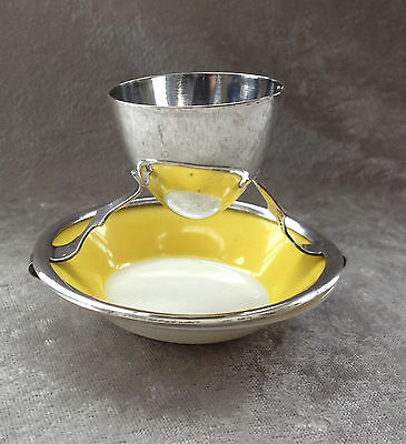 MAPPIN & WEBB Silverplate Egg Cup Stand with ROYAL DOULTON Yellow Underplate 20s