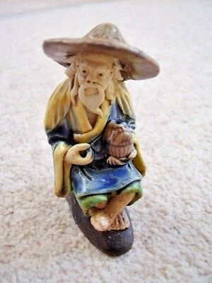 Antique Chinese Miniature CLAY Glazed  Mud man figure -ornament