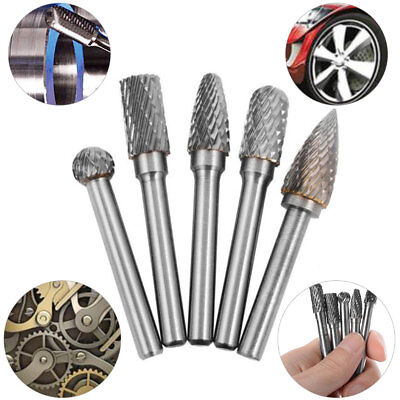 Grinder 6mm Shank Bit Set BI44 5 Head Tungsten Carbide 8MM Rotary Point Burr Die