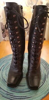 Womans Brazilian Leather Granny Boots