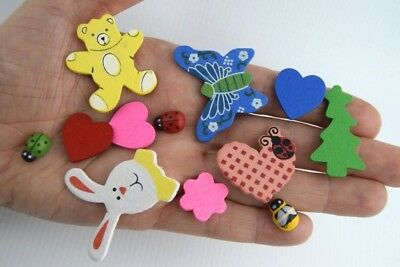 Self Adhesive Wooden Sticks Ladybird Bee Heart Butterfly Stickers Craft UK