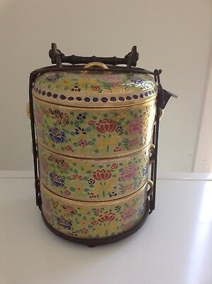 Thai Antique Benjarong Hand Painted Tiffin Or Food Carrier/Lunch Box With Flower