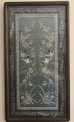 Antique Chinese Silk Forbidden Stitch? Embroidery Birds Flowers Blue/Grey Framed